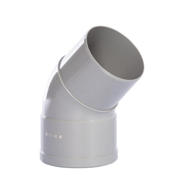 Pipelife hwa bocht 45°, pvc, inwendig lijm x verjongd spie, grijs, 80 mm foto leverancier